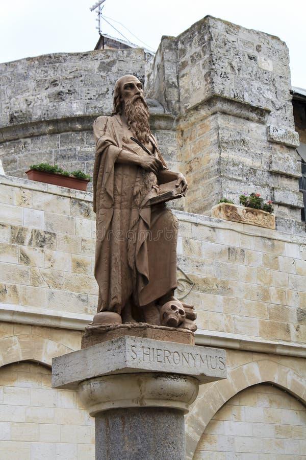 Heilige Hieronymus voor Bethlehem Kerk van de Geboorte van Christus. royalty-vrije stock foto