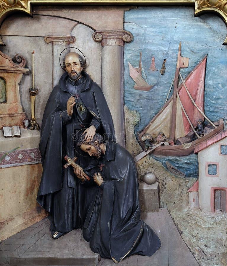 Heilige Ignatius stuurt Heilige Francis Xavier in de opdracht royalty-vrije stock foto's
