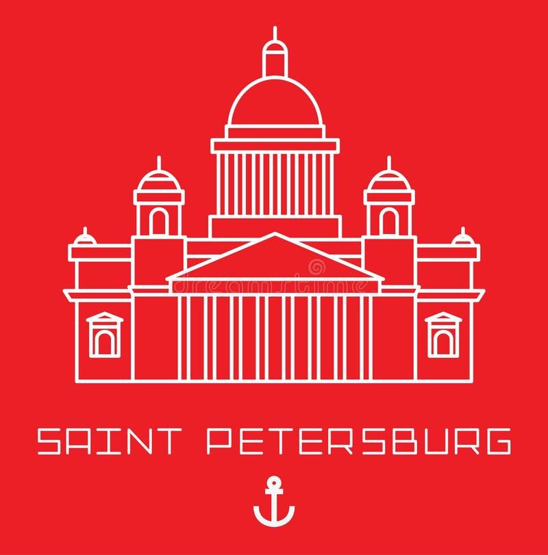 Heilige Isaac Cathedral in Heilige Petersburg Rusland Modern lineair minimalistisch pictogram Lijn sightseeingsconcept royalty-vrije illustratie