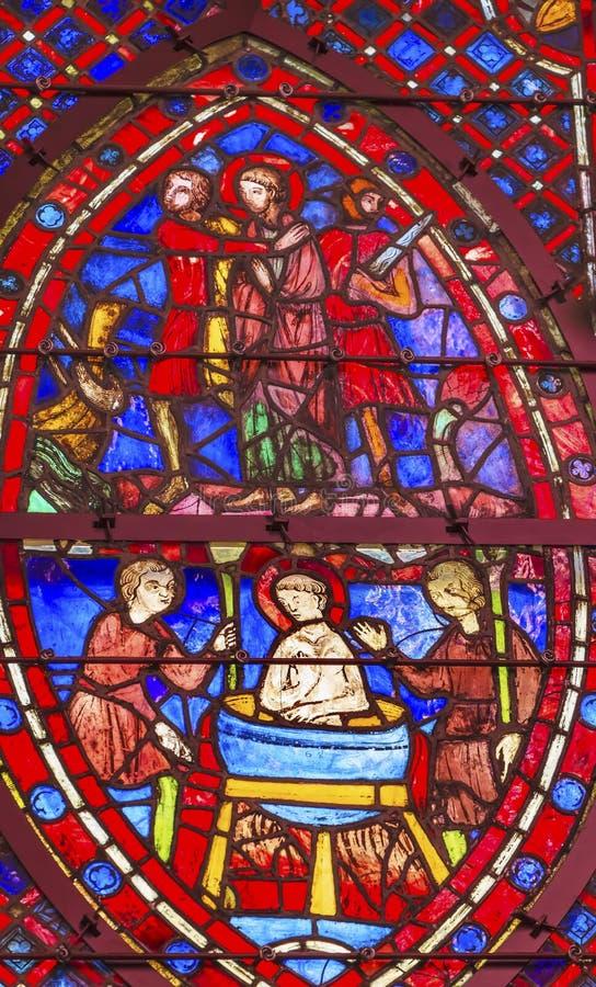 Heilige John Boiling Stained Glass Sainte Chapelle Paris France stock afbeelding