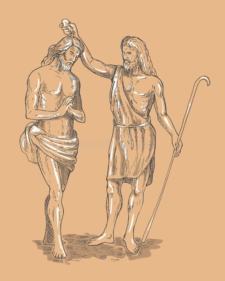 Heilige John doopsgezinde Jesus-Christus royalty-vrije illustratie