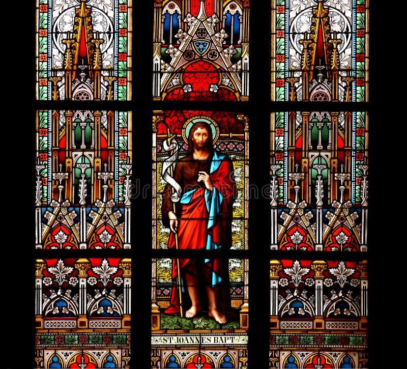 Heilige John, het Doopsgezinde, gebrandschilderd glasvenster royalty-vrije stock foto