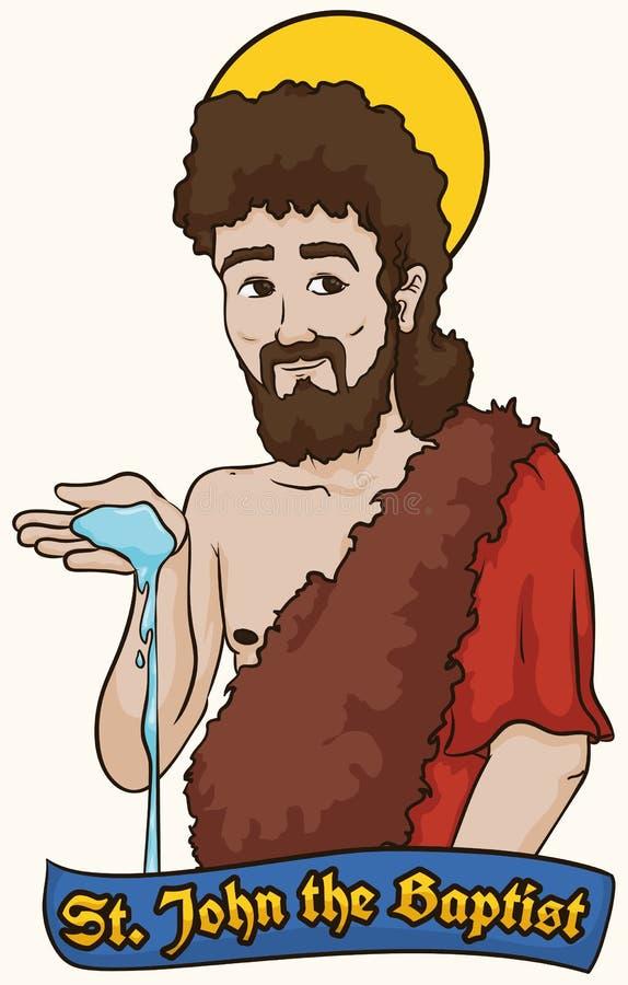Heilige John het Doopsgezinde holdingswater over een Etiket, Vectorillustratie stock illustratie
