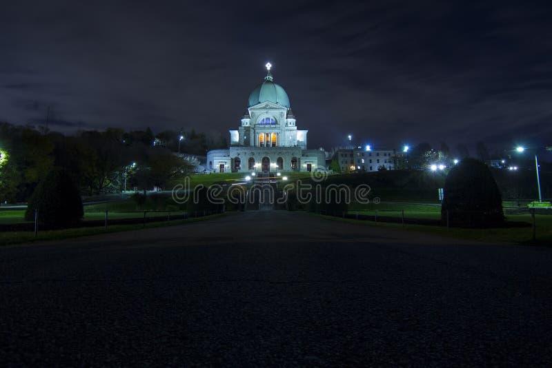 Heilige Joseph Oratory bij Nacht stock afbeelding