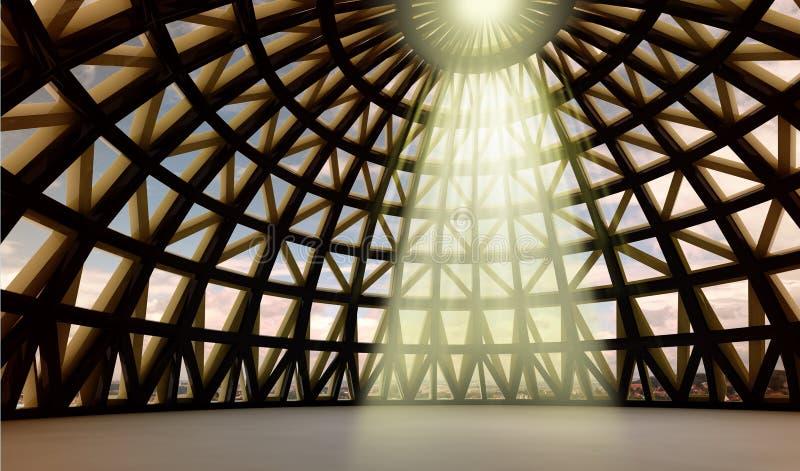 Heilige Leuchte der Götter in der abstrakten Architekturhaube vektor abbildung