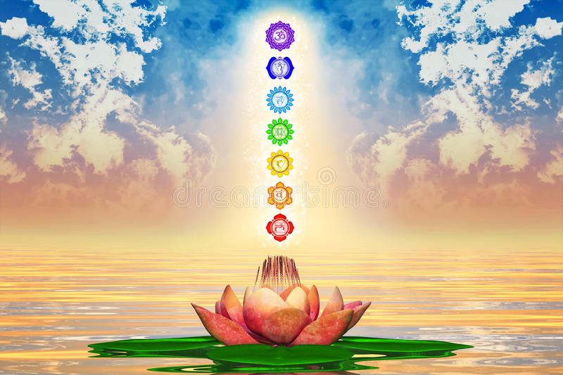 Heilige Lotus And Chakras royalty-vrije illustratie
