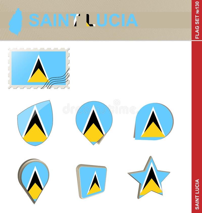 Heilige Lucia Flag Set, Vlag Vastgestelde #130 stock illustratie