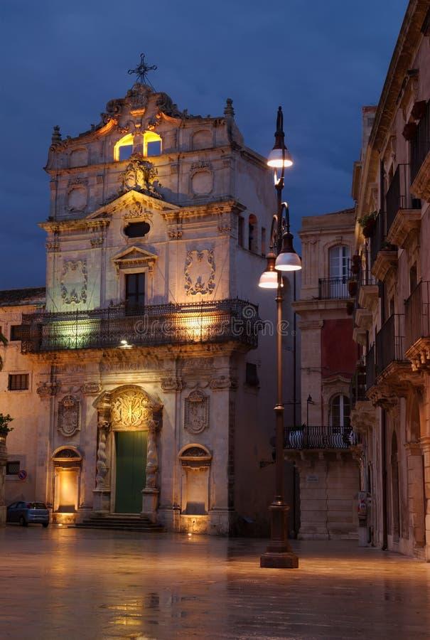 Heilige Lucia und der Lampenpfosten, Ortigia, Sizilien stockfotos