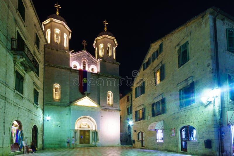 Heilige Luke Square, Kotor stock afbeeldingen