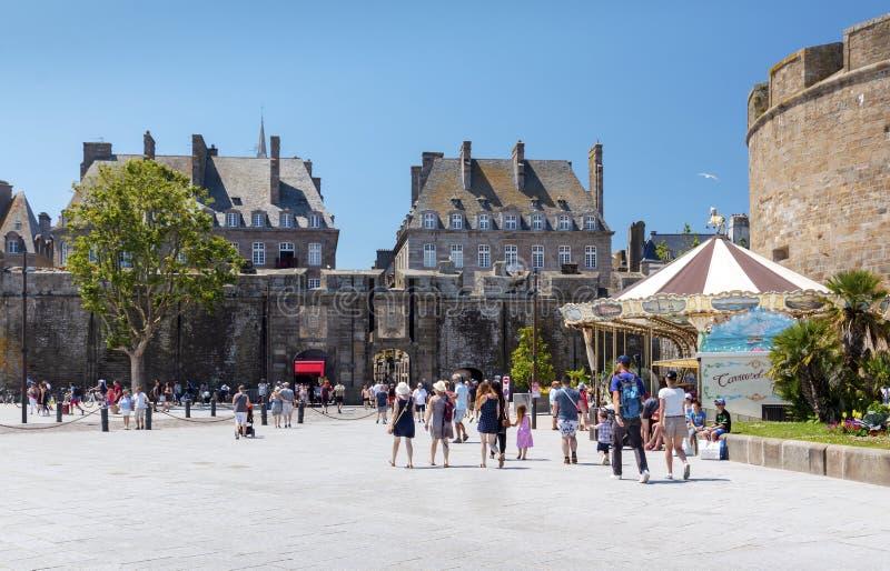 Heilige Malo Entrance door Porte Saint-Vincent stock afbeelding