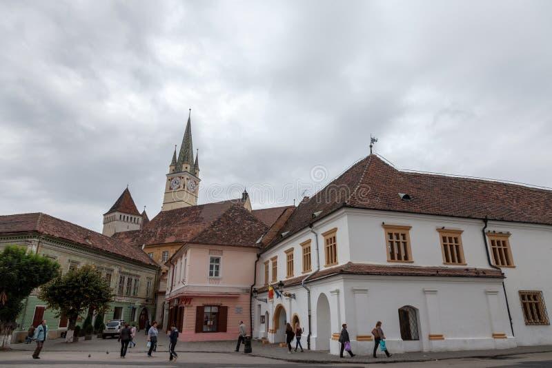 Heilige Margaret Sf De kerk van Margareta in de middag van belangrijkst vierkant van Media wordt gezien, één van de belangrijkste royalty-vrije stock fotografie