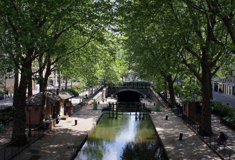 Heilige Martin Canal, Parijs, Frankrijk royalty-vrije stock afbeelding