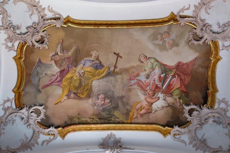 Heilige Mary Magdalene en Heilige Agnes stock afbeelding