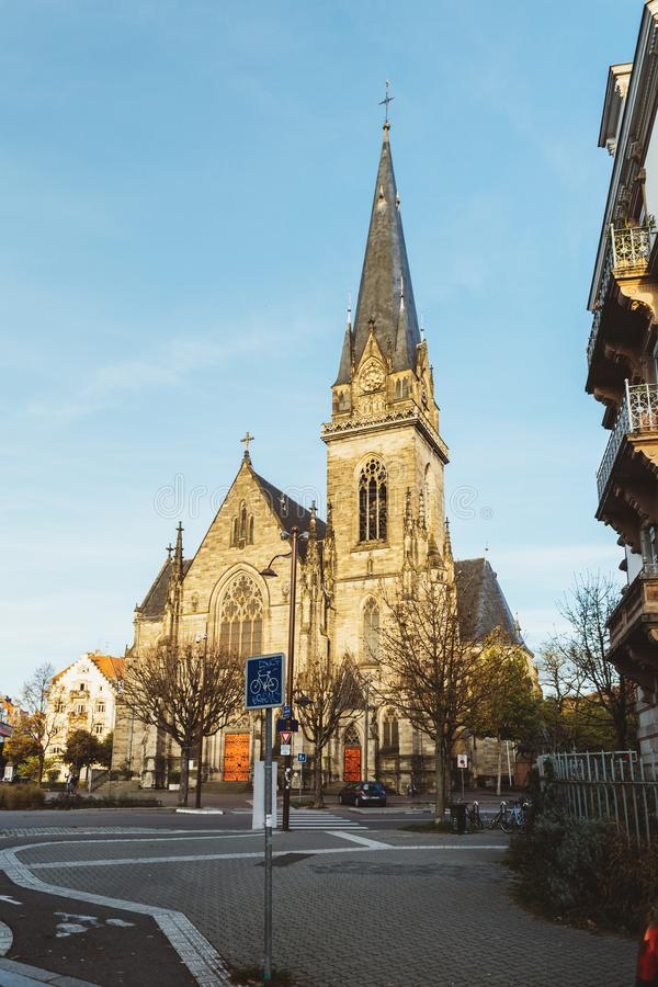 Heilige Maurice Church op Avenue DE La Foret Noire Straatsburg stock afbeeldingen