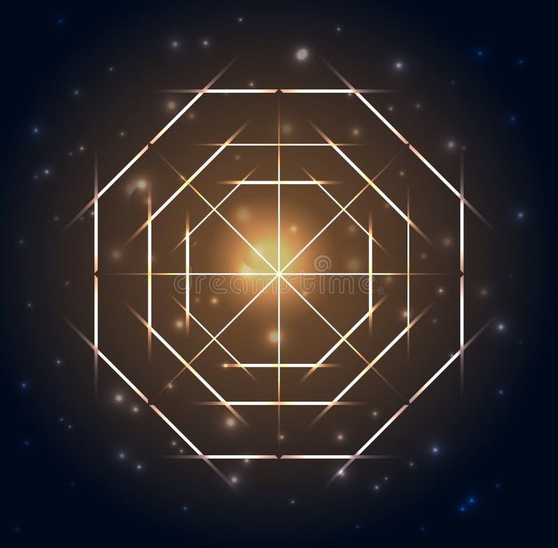 Heilige Meetkunde Abstracte geometrische vormen op een donkerblauwe gloeiende achtergrond stock illustratie