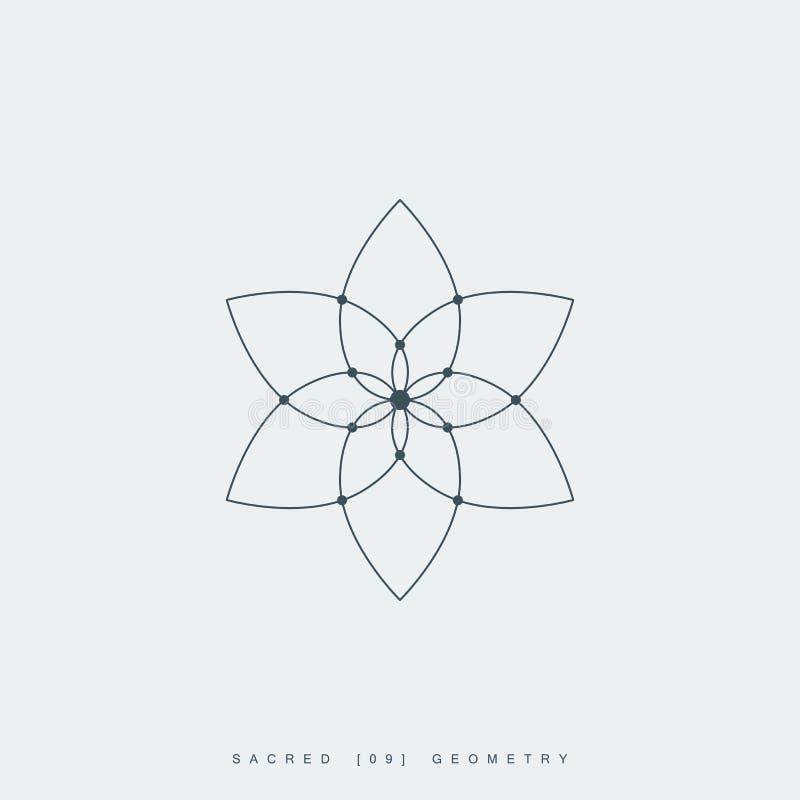 Heilige meetkunde, bloem van het leven of lotusbloembloem stock illustratie