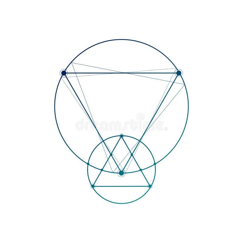 Heilige meetkunde die de geometrische schets van de vormen minimale tatoegering op wit met elkaar verbindt stock illustratie