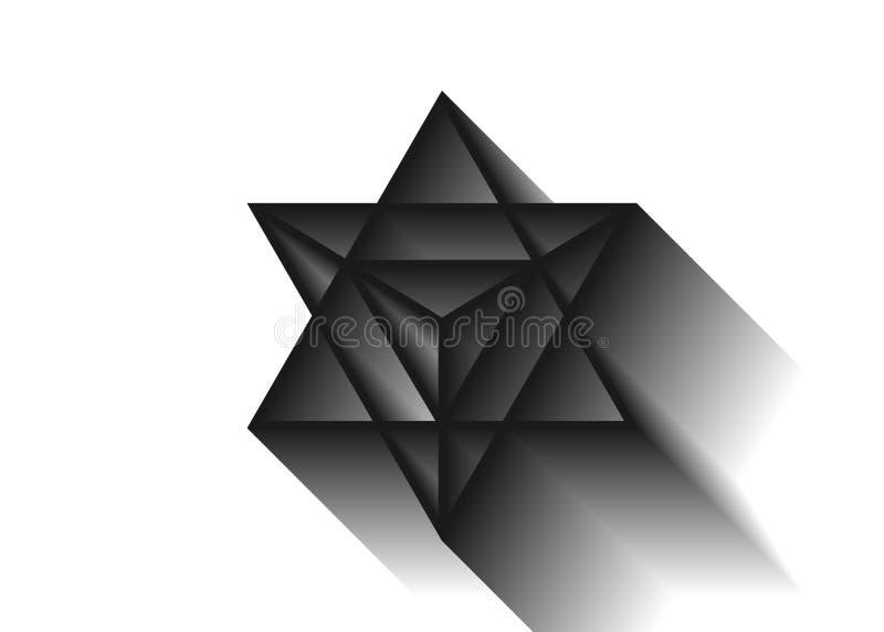 Heilige Meetkunde geometrische de driehoeksvorm van de merkaba dunne lijn Esoterisch of geestelijk symbool Ge?soleerdj op witte a stock illustratie
