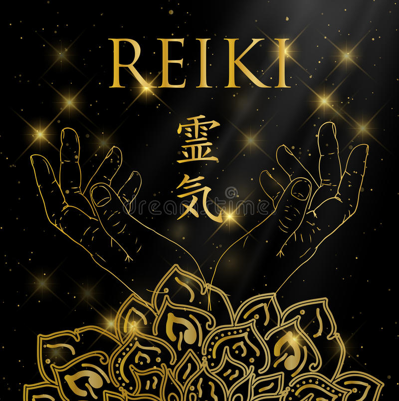 Heilige Meetkunde Het symbool van Reiki stock illustratie