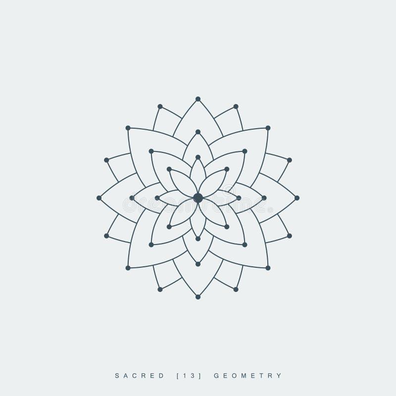 Heilige meetkunde, lotusbloembloem of bloem van het leven royalty-vrije illustratie