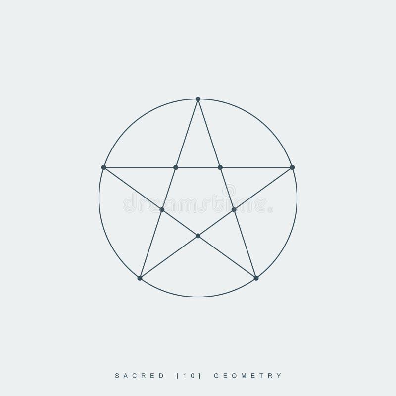 Heilige meetkunde, pentagram geestelijk symbool royalty-vrije illustratie