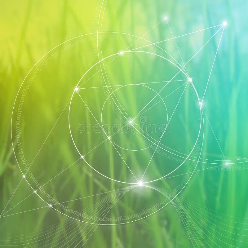 Heilige Meetkunde Wiskunde, aard, en spiritualiteit in aard De formule van aard vector illustratie