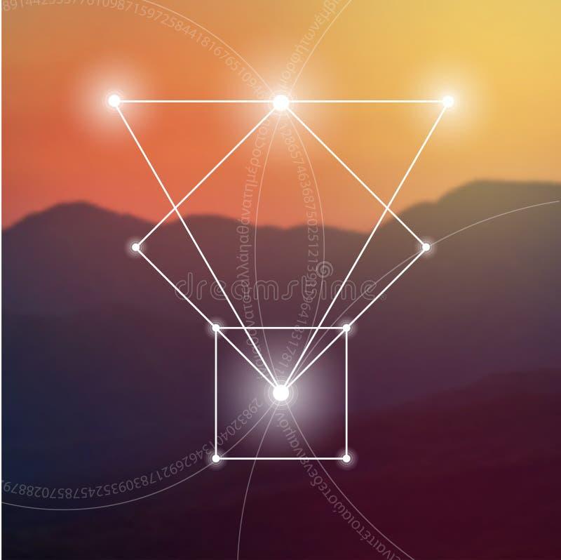 Heilige Meetkunde Wiskunde, aard, en spiritualiteit in aard De formule van aard royalty-vrije illustratie