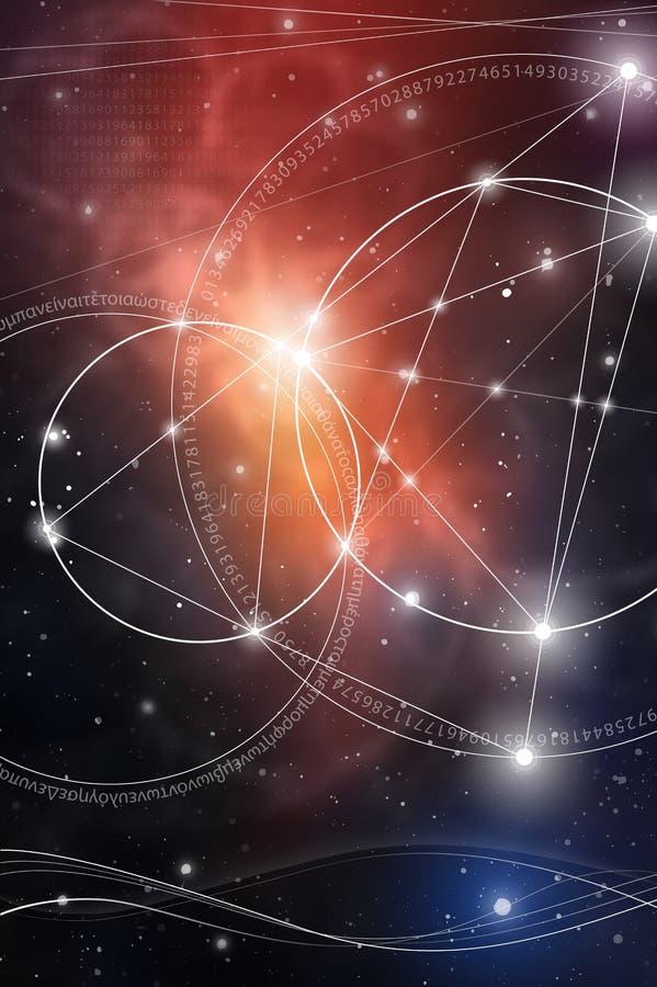 Heilige Meetkunde Wiskunde, aard, en spiritualiteit in Ruimte De formule van aard stock foto's