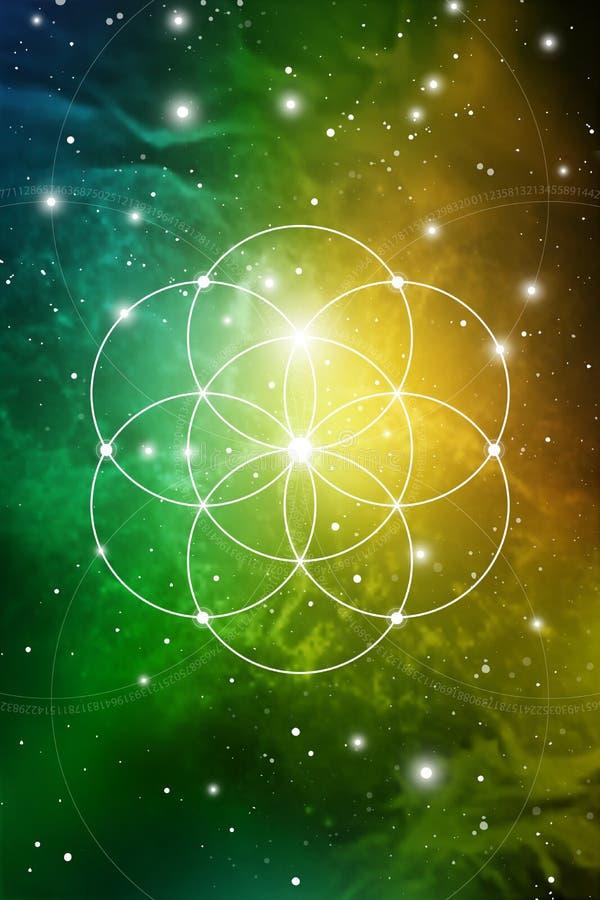 Heilige meetkundekunst met gouden verhouding aantallen, met elkaar verbindende cirkels, driehoeken en vierkanten, stromen van ene stock illustratie
