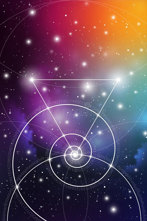 Heilige meetkundekunst met gouden verhouding aantallen, met elkaar verbindende cirkels, driehoeken en vierkanten, stromen van ene royalty-vrije illustratie
