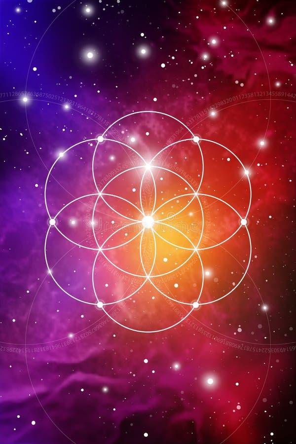 Heilige meetkundekunst met gouden verhouding aantallen, met elkaar verbindende cirkels, driehoeken en vierkanten, stromen van ene vector illustratie