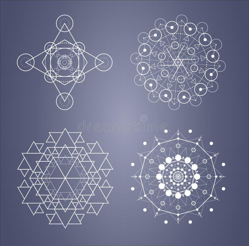 Heilige meetkundereeks ingewikkelde symbolen in vector stock illustratie