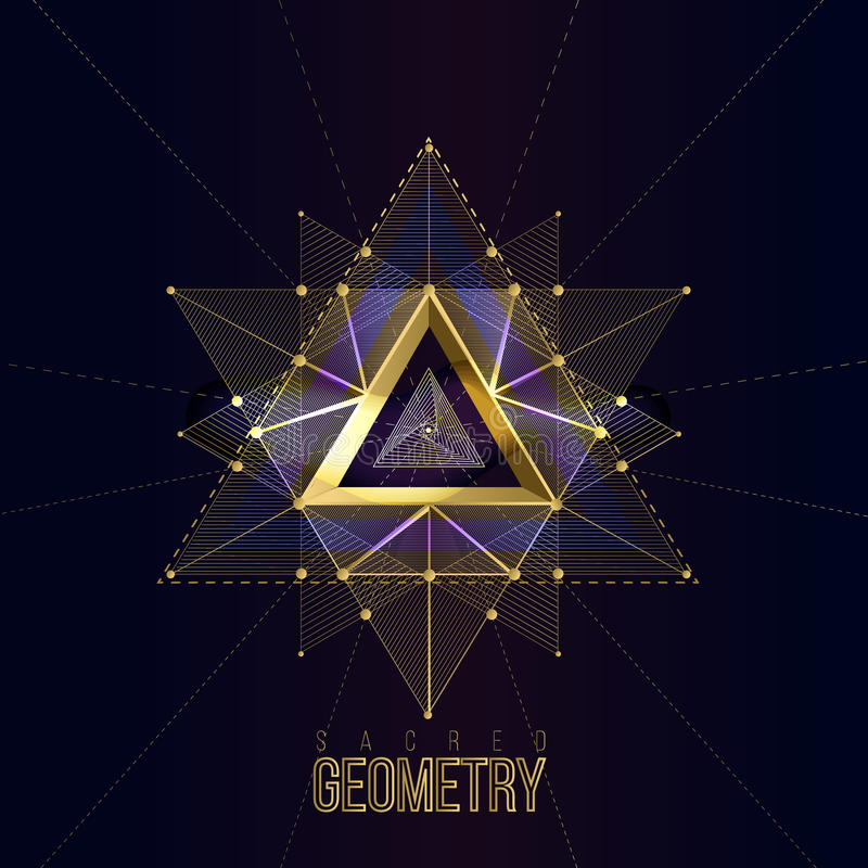 Heilige meetkundevormen op ruimteachtergrond, vormen van gouden lijnen voor embleem royalty-vrije illustratie
