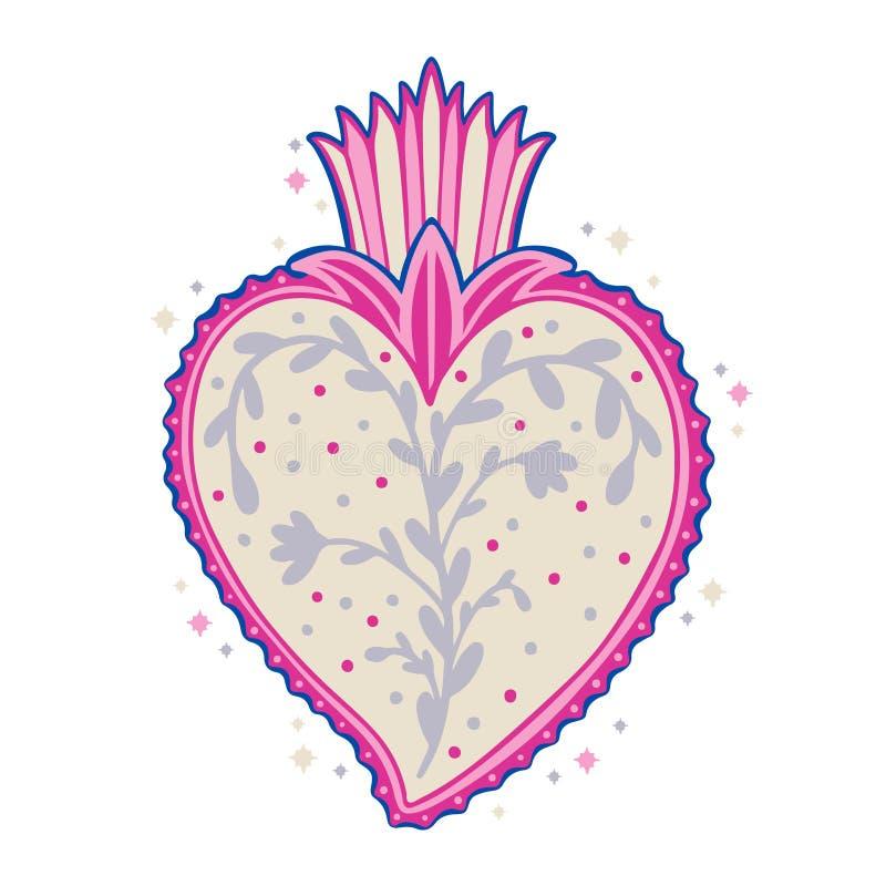 Heilige Mexicaanse geestkleur De godsdienst van het zielsymbool Het heilige hart van het decoratieembleem Sacramentele godsdienst royalty-vrije illustratie