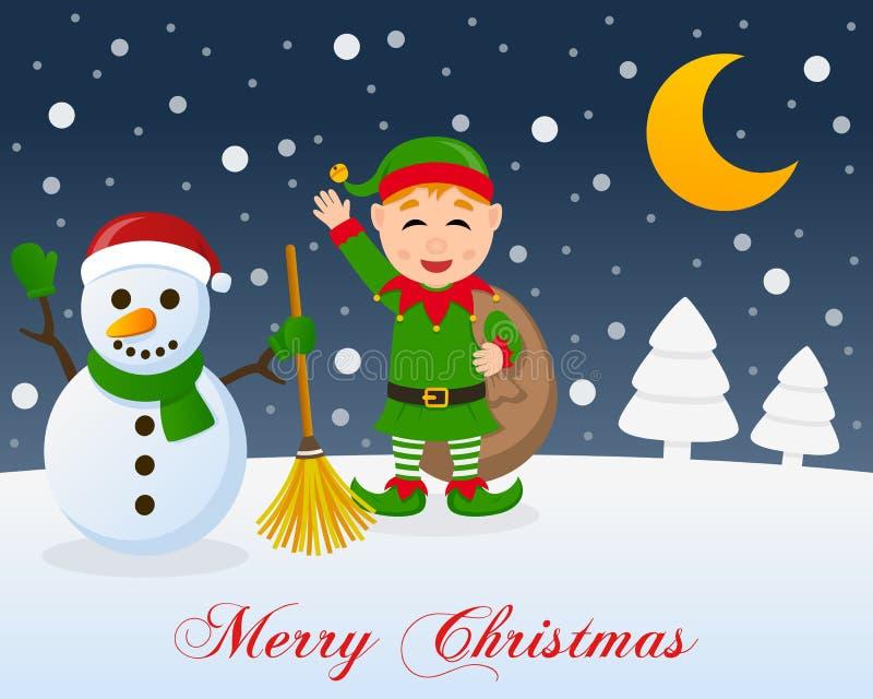 Heilige Nacht, netter Schneemann u. grüne Elfe lizenzfreie abbildung
