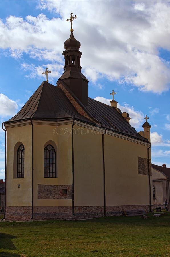 Heilige Nicholas Church in Medzhybizh-kasteel Vesting als bolwerk tegen Ottomaneuitbreiding wordt gebouwd in 1540s die royalty-vrije stock foto's