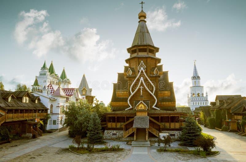 Heilige Nicholas Orthodox Church in Izmailovsky het Kremlin in Moskou stock fotografie