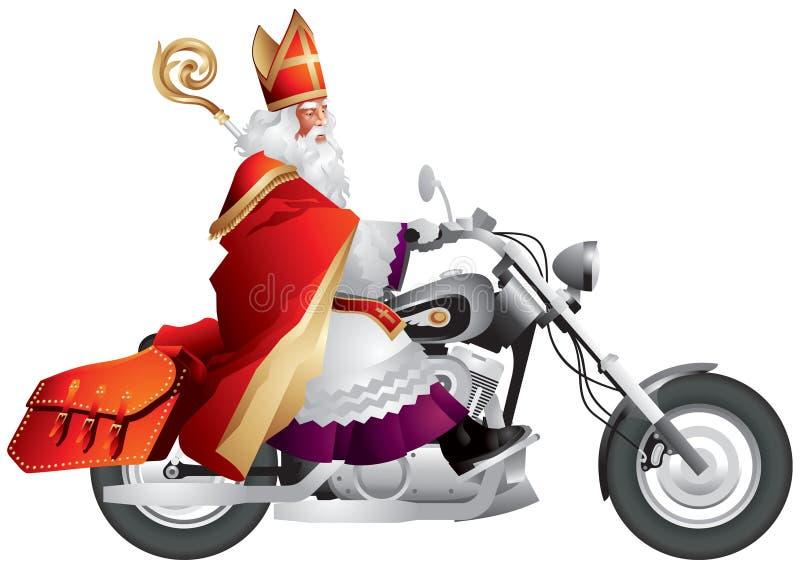 Heilige Nikolaus, Sinterklaas auf einem kundenspezifischen Motorrad lizenzfreie abbildung