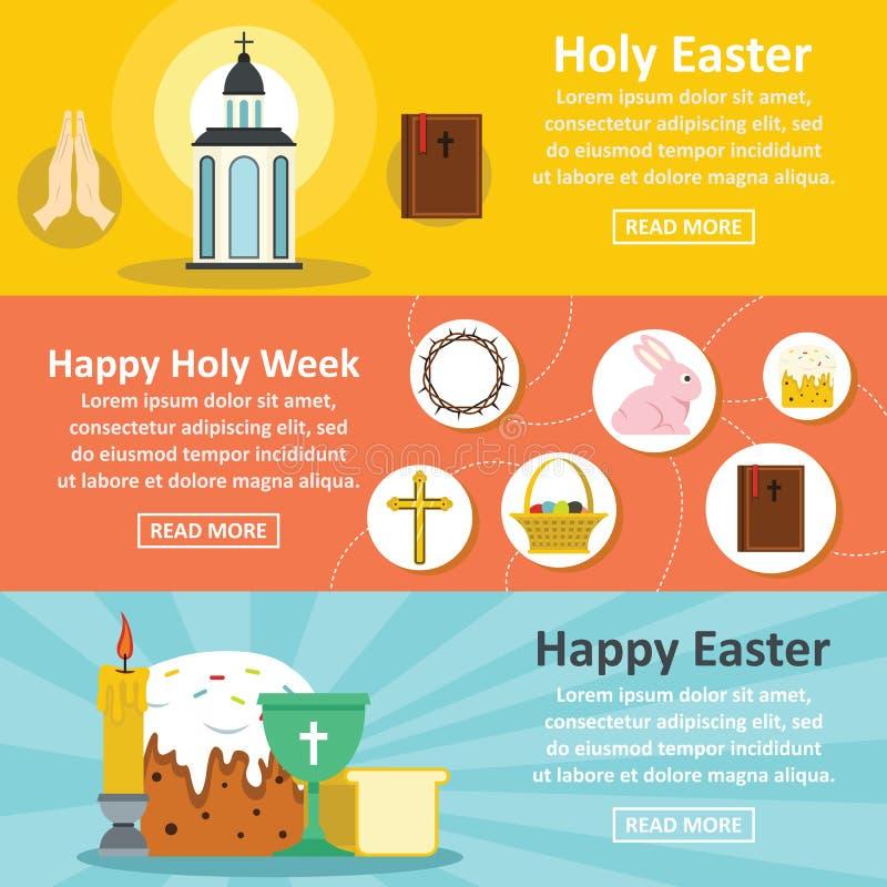 Heilige Pasen-banner horizontale reeks, vlakke stijl vector illustratie