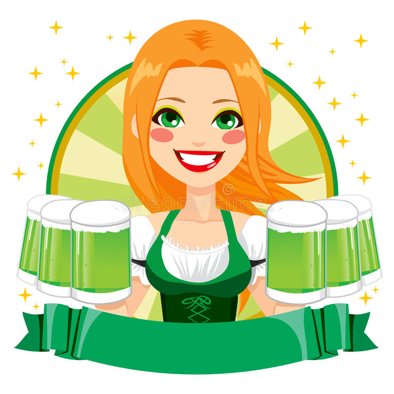 Heilige Patrick Waitress Green Banner vector illustratie