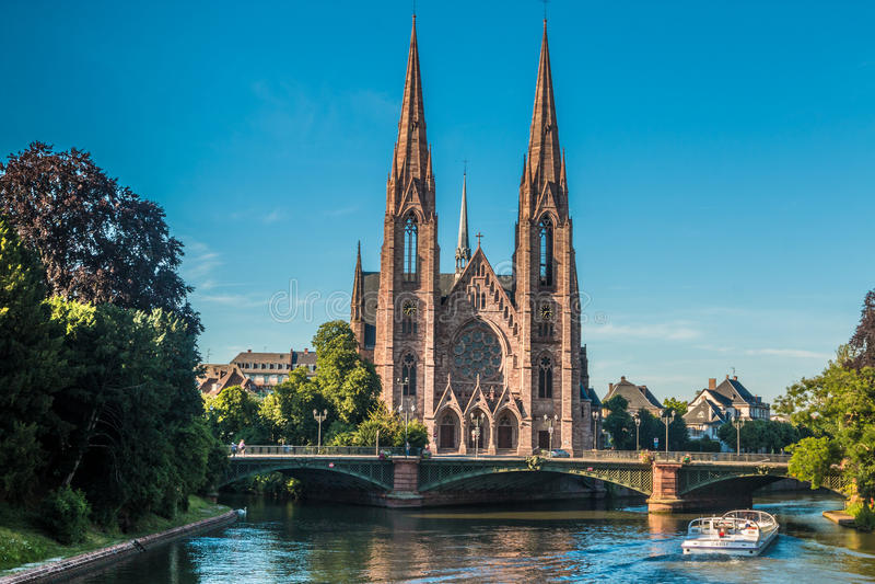 Heilige Paul Church in Straatsburg in Frankrijk stock foto