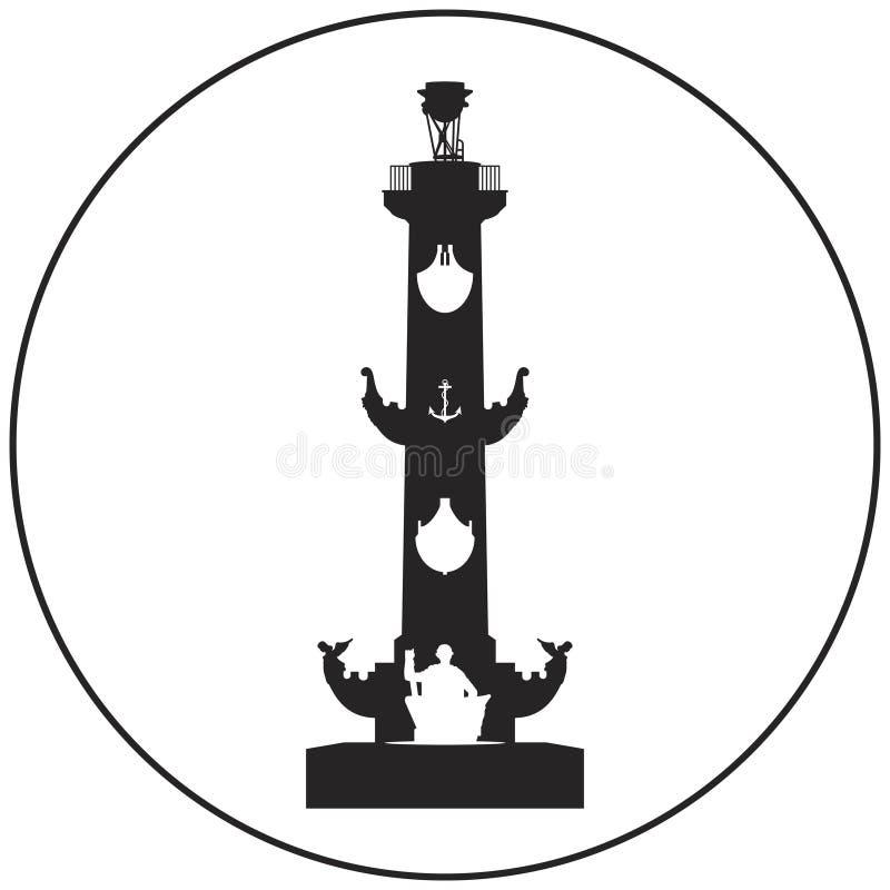 Heilige-Petersburg Rostral kolom vectorpictogram stock illustratie