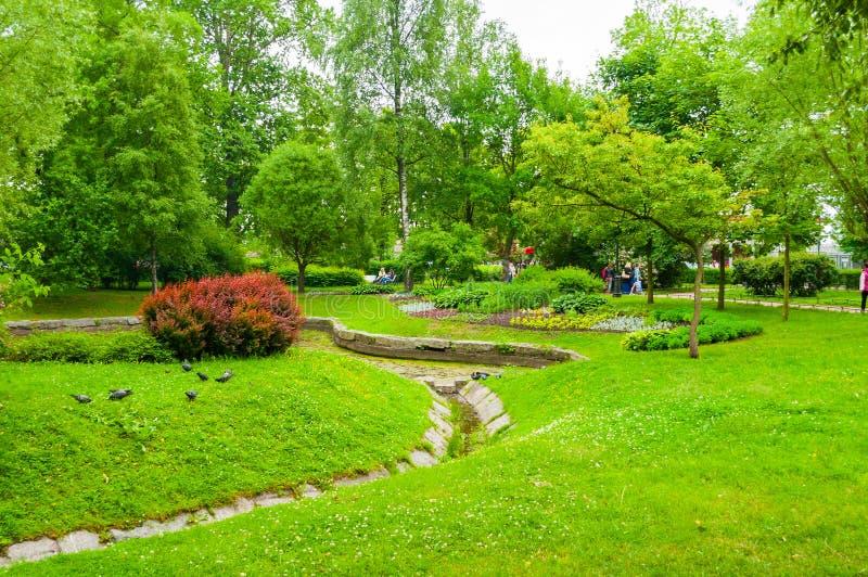 Heilige Petersburg, Rusland Het modelleren in het park van Alexander - sier openbare park en vijver met bloembedden in de zomerda royalty-vrije stock afbeelding