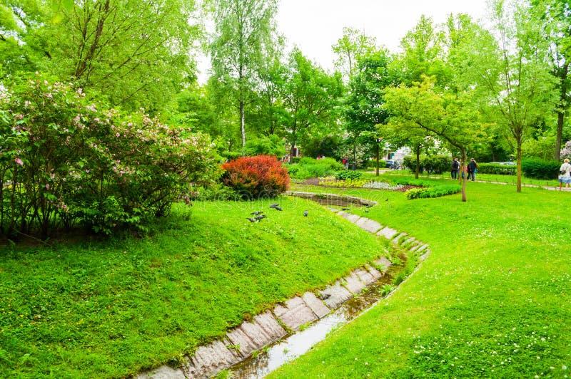 Heilige Petersburg, Rusland Het modelleren in het park van Alexander - sier openbare park en vijver met bloembedden royalty-vrije stock foto