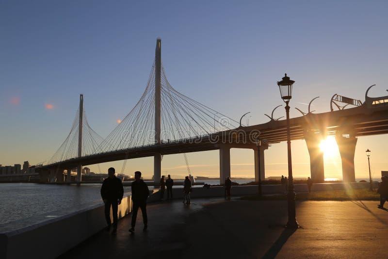 HEILIGE PETERSBURG, RUSLAND - OKTOBER, 2018: De kabel-gebleven brug van de westelijke hoge snelheidsdiameter royalty-vrije stock foto's
