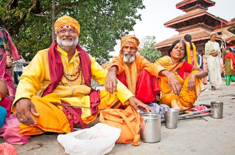 Heilige Sadhues met traditionele zegen in Katmandu, Nepal. stock fotografie