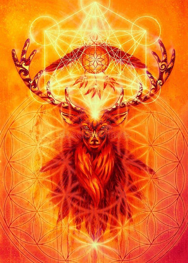 Heilige sierhertengeest met het symbool van de droomvanger en veren en merkaba en bloem van het leven stock illustratie