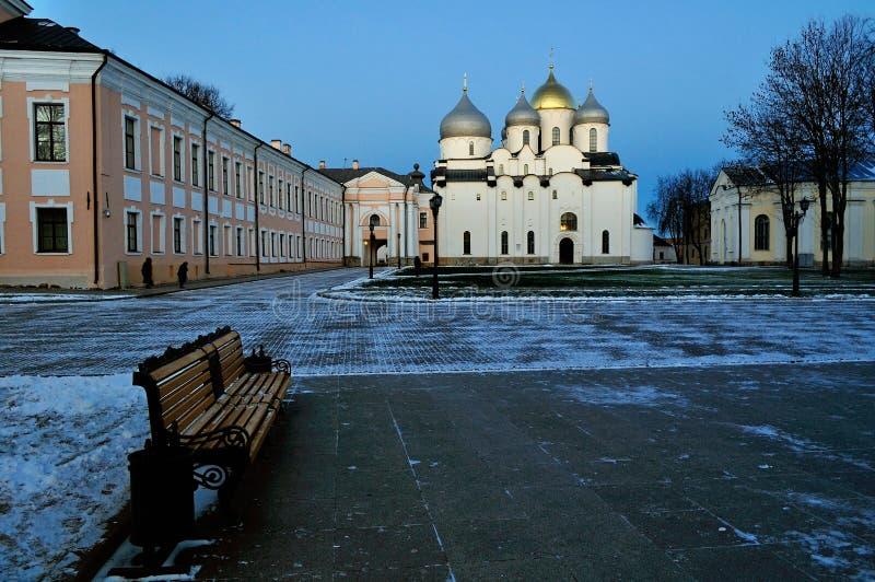Heilige Sophia& x27; s kathedraal in Veliky Novgorod, Rusland - Noordelijk Orthodox oriëntatiepunt royalty-vrije stock foto's