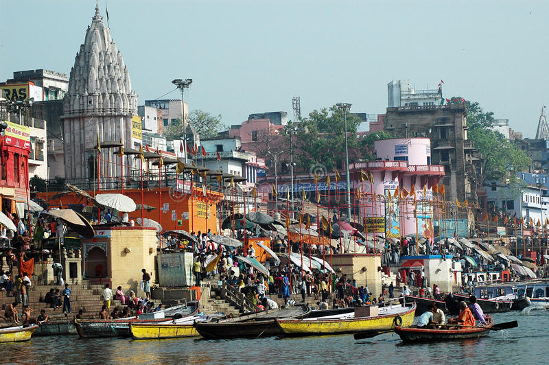 Heilige Stad Benaras in India royalty-vrije stock fotografie