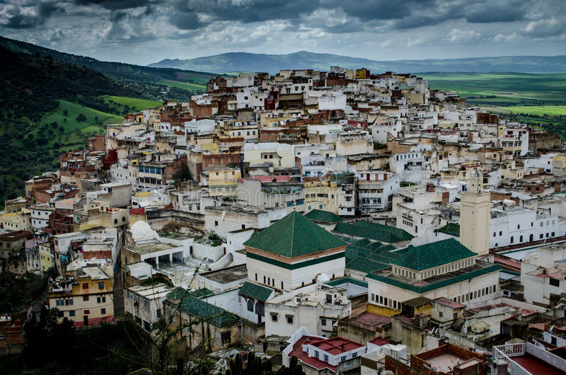Heilige Stad van Moulay Idriss, Marokko royalty-vrije stock foto's